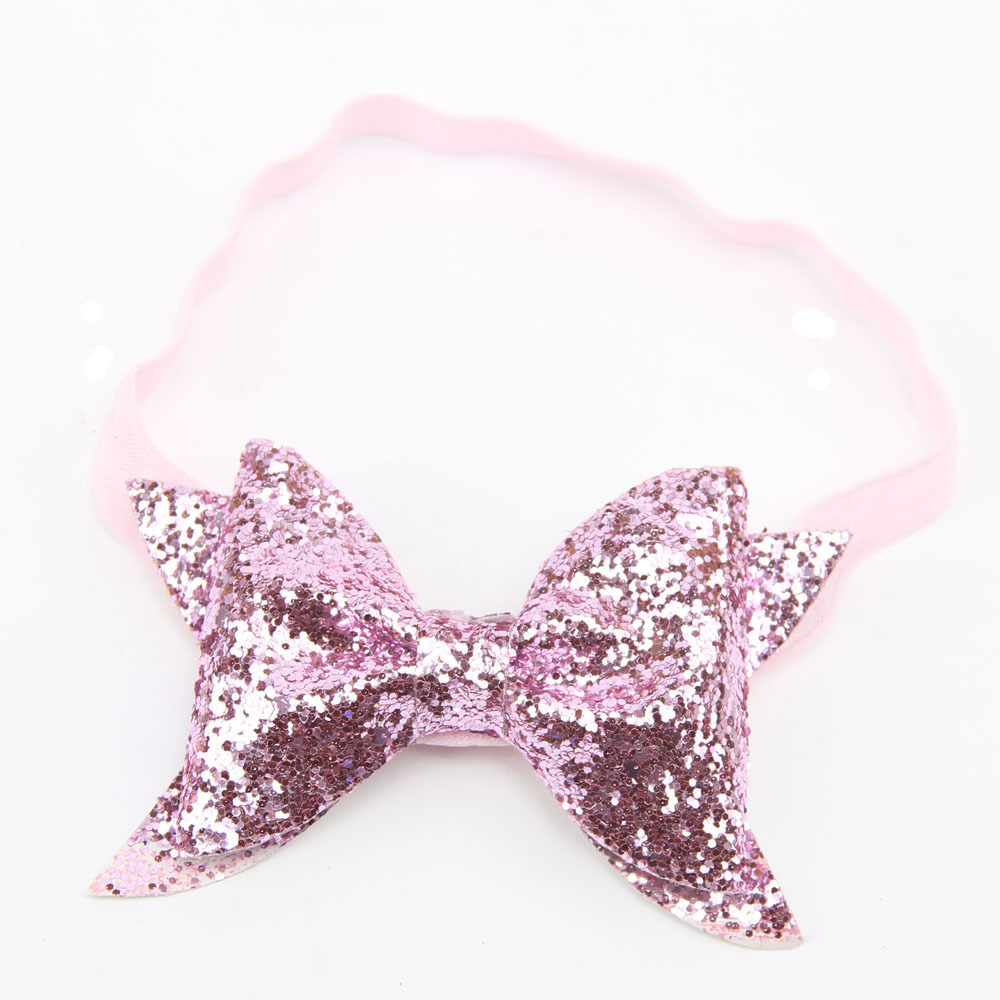 pink Baby Headband Glitter Bow Headband for Children Adult Glitter Fabric Bow Baby Girl Headband Hair