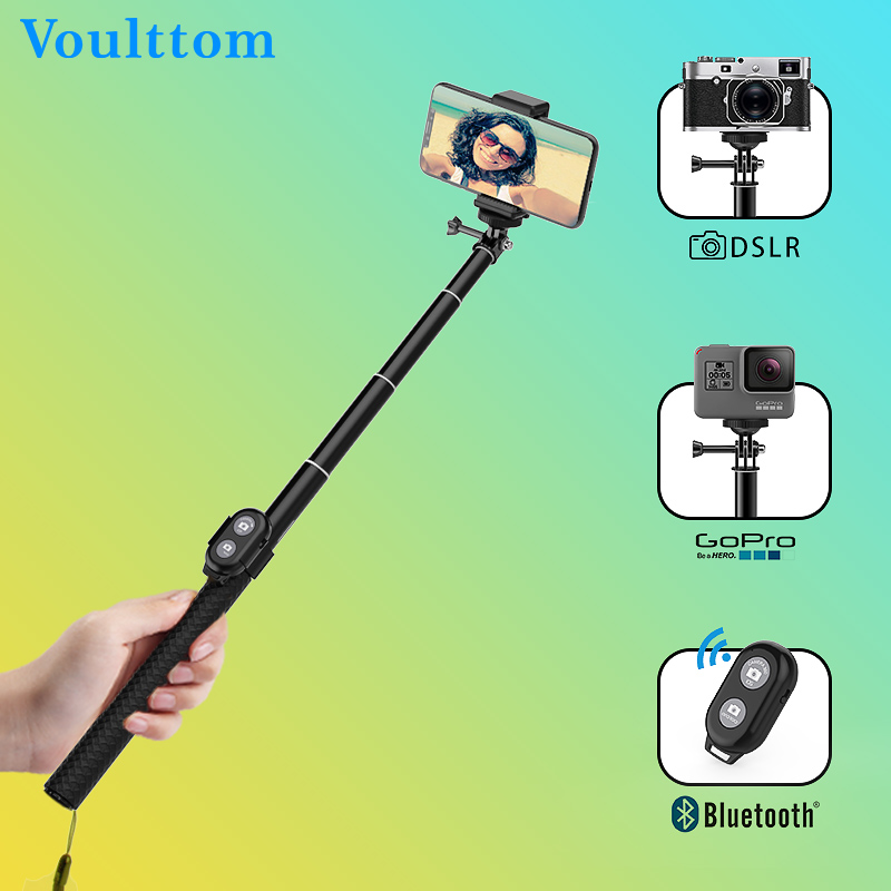 Voulttom Selfie stick Bluetooth Wireless Remote Control Shutter Foldable Tripod Monopod for Phone Camera Gopro zpq 361 wireless bluetooth selfie camera remote shutter for ios android mobile phone cr1632 x 1