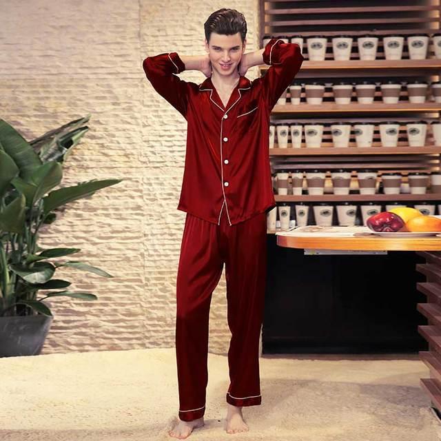 61298fe927 Plain Satin Pajamas Set Men Nightwear Long Sleeve Pyjama Set Pajama Suit Sleepwear  Male Loungewear Homewear