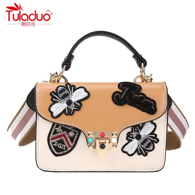 Embroidered Rivet Women Crossbody Bags High Quality PU Leather Women Handbags Wide Shoulder Strap Tote Ladies Messenger Bags
