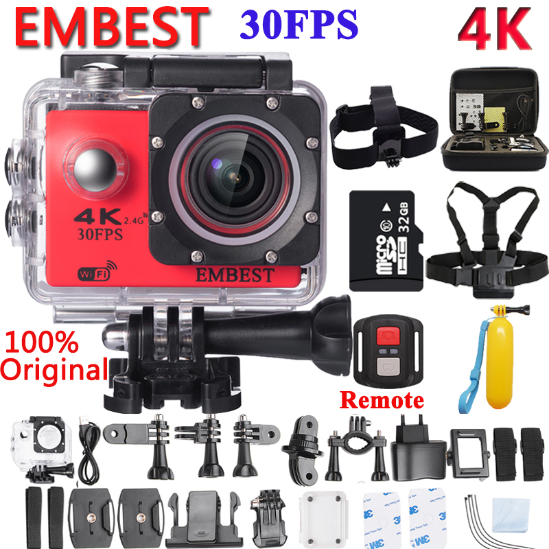 EMBEST 4K WIFI Remote Sport Action Camera Helmet Camcorder 16MP 170 Degree Wide Angle 2.0 LCD Waterproof 30M Extreme Action Cam eken h8 h8r ultra hd 4k 30fps wifi action camera 30m waterproof 12mp 1080p 60fps dvr underwater go helmet extreme pro sport cam