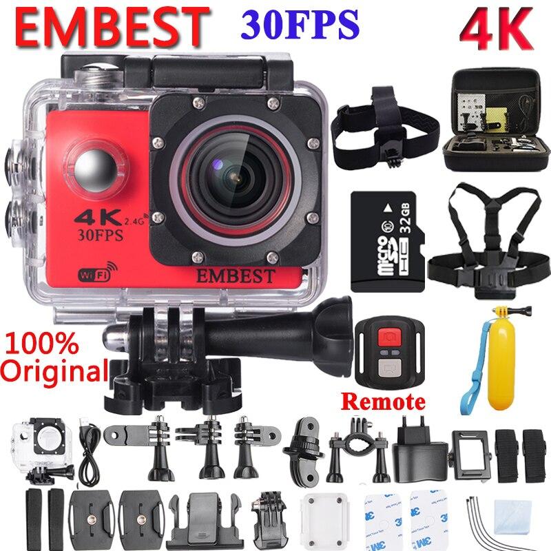Embest 4 К WI-FI удаленного Спорт действий Камера шлем видеокамера 16mp 170 градусов Широкий формат 2.0 ЖК-дисплей Водонепроницаемый 30 м Extreme действие Cam
