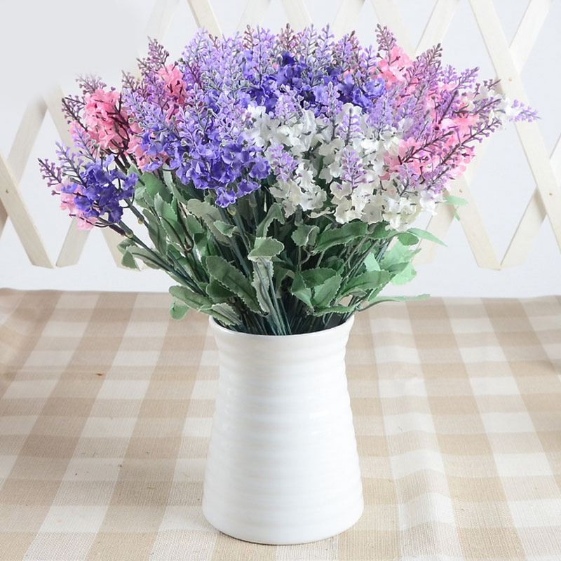 5pcs Simulation Lavender Decorative Flowers In Purple Violet Pink  Artificial Flower For House Office Wedding Decoration