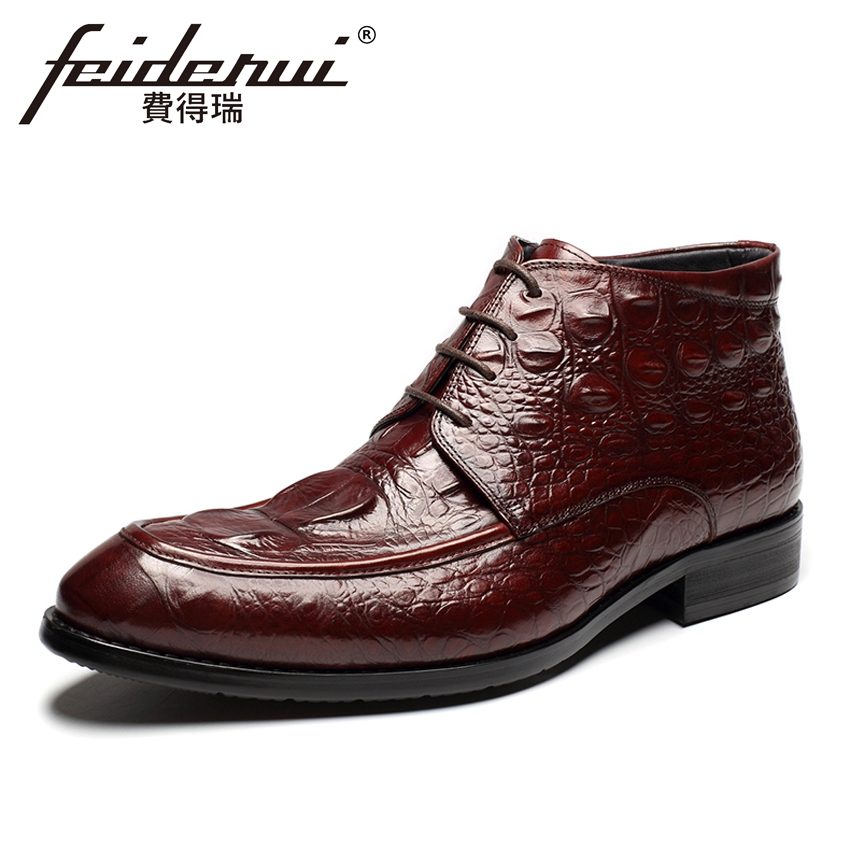 New Arrival Luxury Genuine Leather Men's Handmade Ankle Boots Round Toe Lace-up Alligator Cowboy Riding Shoes For Man HMS84 new arrival luxury genuine leather men s handmade ankle boots round toe lace up alligator cowboy riding shoes for man hms84