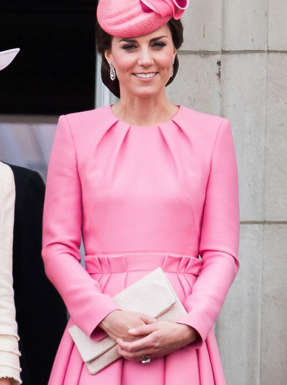 Kate Middleton Princess Pink Dress Elegant Long Sleeve Pleated ...