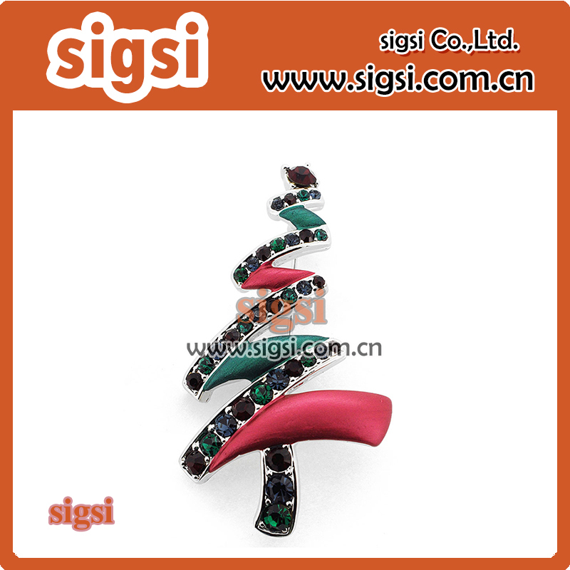 Wholesale Fashion Christmas Tree Crystal Rhinestone Brooch For Christams