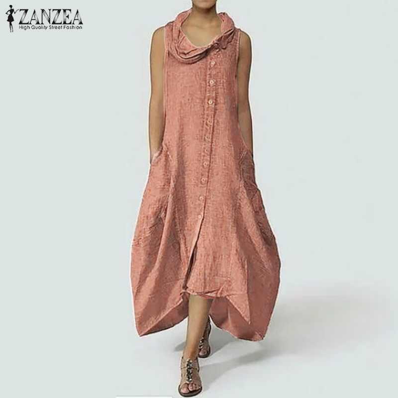 4f885dda4bb8e8f ... ZANZEA женское длинное платье макси без рукавов винтажное асимметричное  платье с подолом Повседневная Длинная рубашка Vestido ...