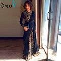 Dressv 2017 Элегантный Черный Фантазии Абая Мусульманский Вечернее Платье Дубай Марокканская Исламская Вышивка С Длинным Рукавом Арабский вечернее платье