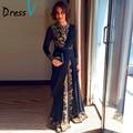 Dressv 2017 Elegant Black Fancy Abaya Muslim Evening Dress Dubai Moroccan Islamic Embroidery Long Sleeve Arabic evening dress