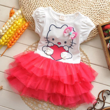 Fashion Summer Baby Girls Dress 3 Color Short Sleeves Cotton Hello Kitty O-neck Dress For Girls Casual Comfortable Kids Clothes