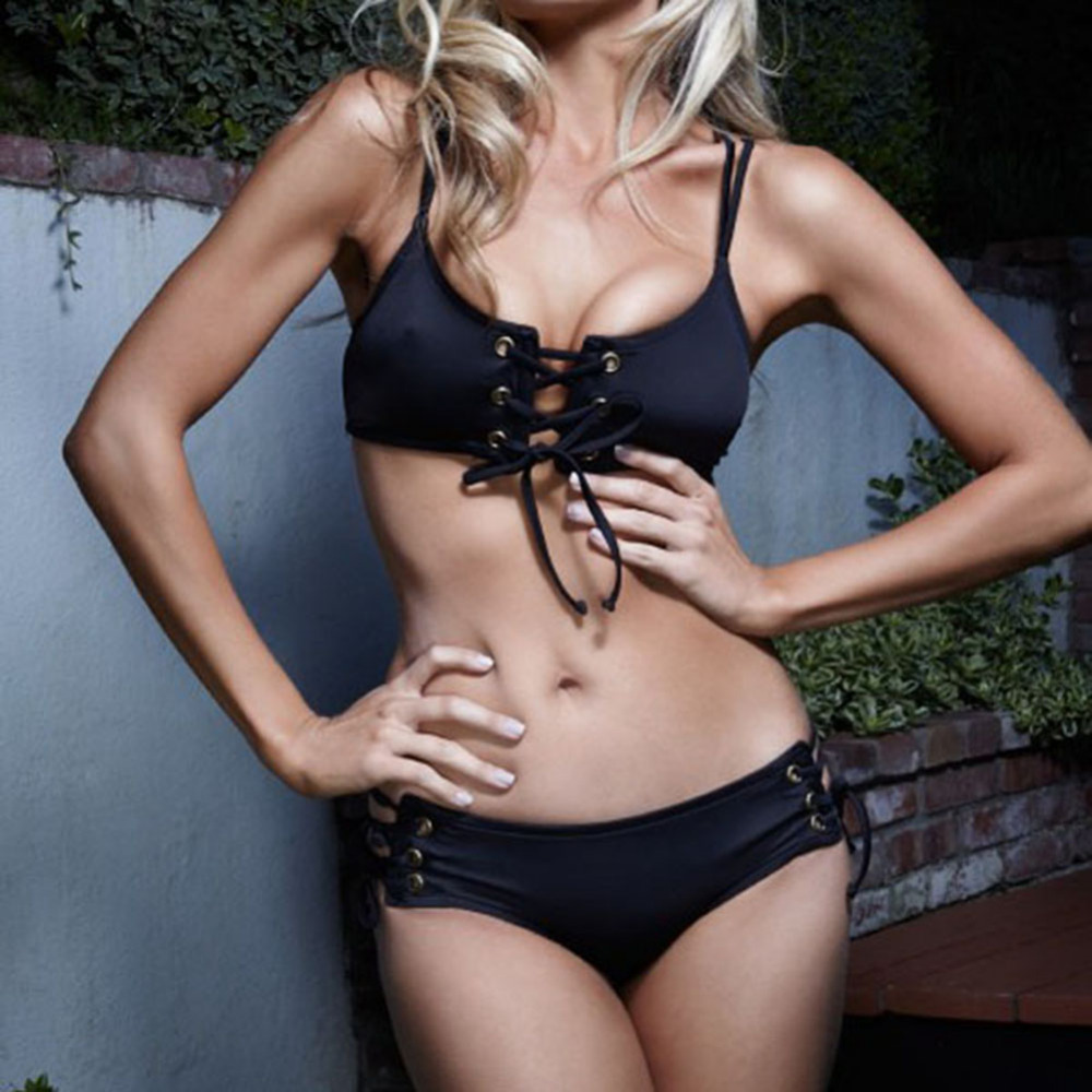 2018 sommer Sexy Frauen Bikini Set Schwarz Kordelzug Strap Hohl Brust Push-Up Badeanzug Badeanzug Beachwear Plus Größe S-XL