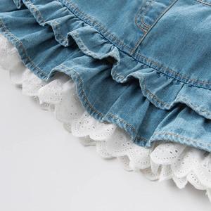 Image 4 - Dave bella bahar bebek bebek kızın kot elbise moda kemerli elbise doğum günü jartiyer elbise yürüyor çocuk giysileri