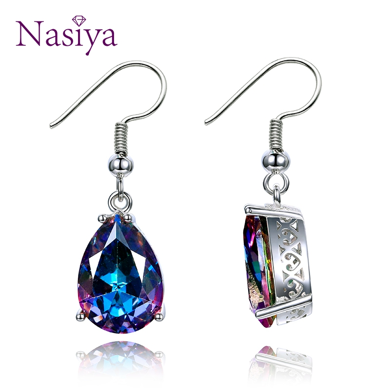 NASIA Jewelry 925 Sterling Silver Mystery Rainbow Crystal Earrings for Women Girl Ear Hook Style Earrings Engagement Party Decor