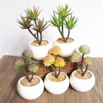 59e6d2914 Simulación de planta suculenta Bonsai decoración maceta creativa bricolaje  decoración del hogar Artificial Cactus planta, incluyendo maceta