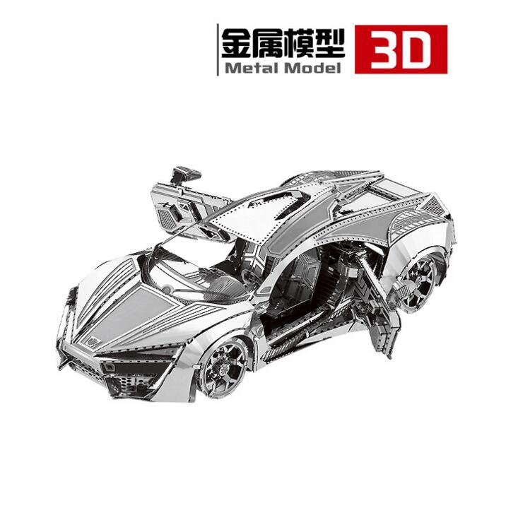 3D Metal Puzzles DIY Model Gift World's Vehicle Hypersport Sports Car F1 racing Metal car manual model Jigsaws toys Present Gift