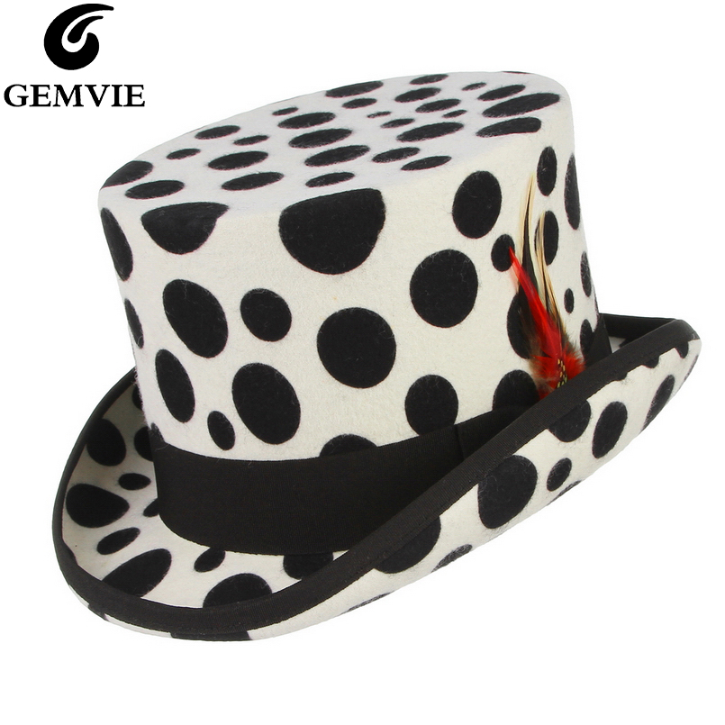 GEMVIE 100% Wool Felt Feather White Top Hat Handmade Cow Print Cylinder Hat For Women Men Mad Hatter Costume Accessory Fedora