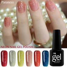 Paranes 2017 Color Gel Lacquer Shiny Color UV Gel Nail Polish Lucky Colorful Neon UV Gel Polish DIY Nail Art Manicure Set