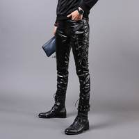 Men's winter fashion show personality Slim leather pants male plus velvet feet thick leather pants men maneuvering