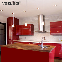 Glossy Vinyl Film PVC Waterproof Removable Self Adhesive Wallpaper for Kitchen Cabinets Contact Paper Wall Stickers Home Decor