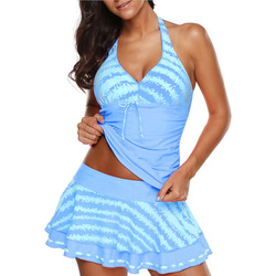 Купальный костюм, купальный костюм большого размера, купальный костюм размера плюс 5XL, консервативная пляжная юбка, Одноцветный купальник б... 3
