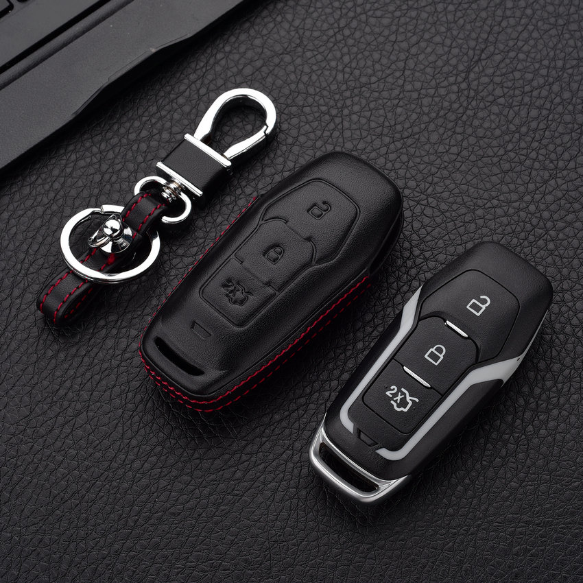 Fit For Ford Mondeo 2013 Actual-Key-Shape 3 Button Smart Car Key Case Cover For Ford Mustang 2015 Edge Fusion Key Bag replacement 3 button smart key housing case for ford dark red