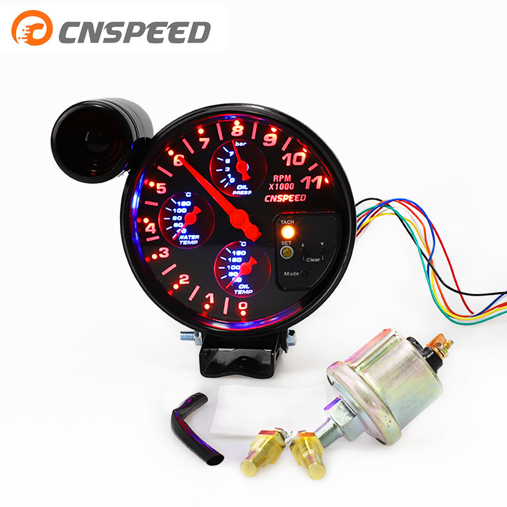 5 4 IN 1 car tachometer rpm meter Racing gauge water temp oil temperature pressure With shift light