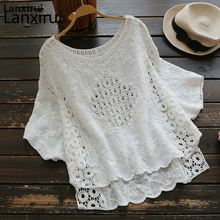 White Hollow Out Embroidered Lace O -Neck Loose Batwing Sleeve Cotton Linen Blouse Mori Girl 2018 Summer New Women Shirt Tops embroidered hollow out batwing kimono