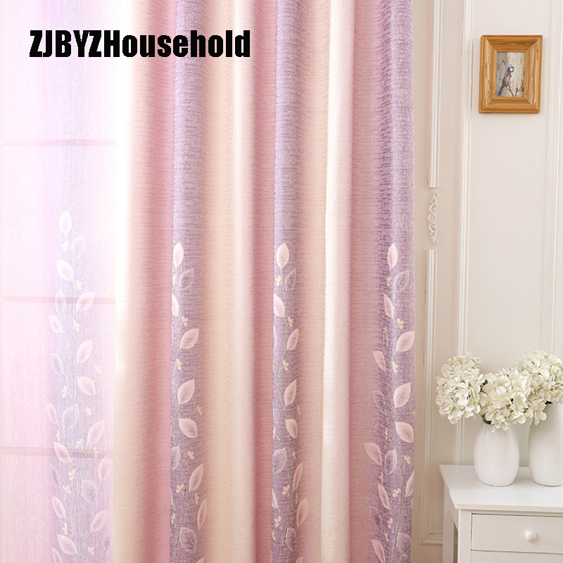 Minimalist Style Cotton Hemp Pink Small Fresh Cane Leaf Shading Printing Curtains For Living Room Bedroom Shading