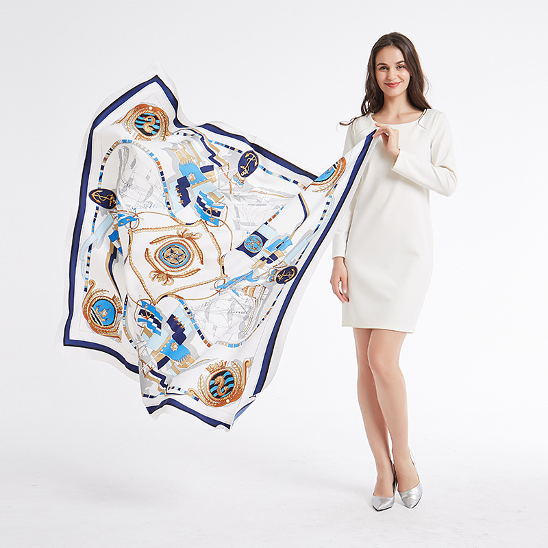 Womens Luxury Soft Twill Print Scarves Female Larger Square 130 CM Sunscreen Shawls And Wraps Cover Up Beach Scarf For Woman in Women 39 s Scarves from Apparel Accessories