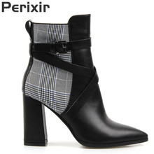Perixir Women Ankle Boots Winter Cotton Fabric PU Pointed Toe Square Heel Bukkle Lady Short Shoes