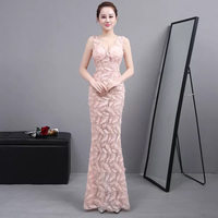 D041 sexy floor length feather pattern inner bra long pink lace dress