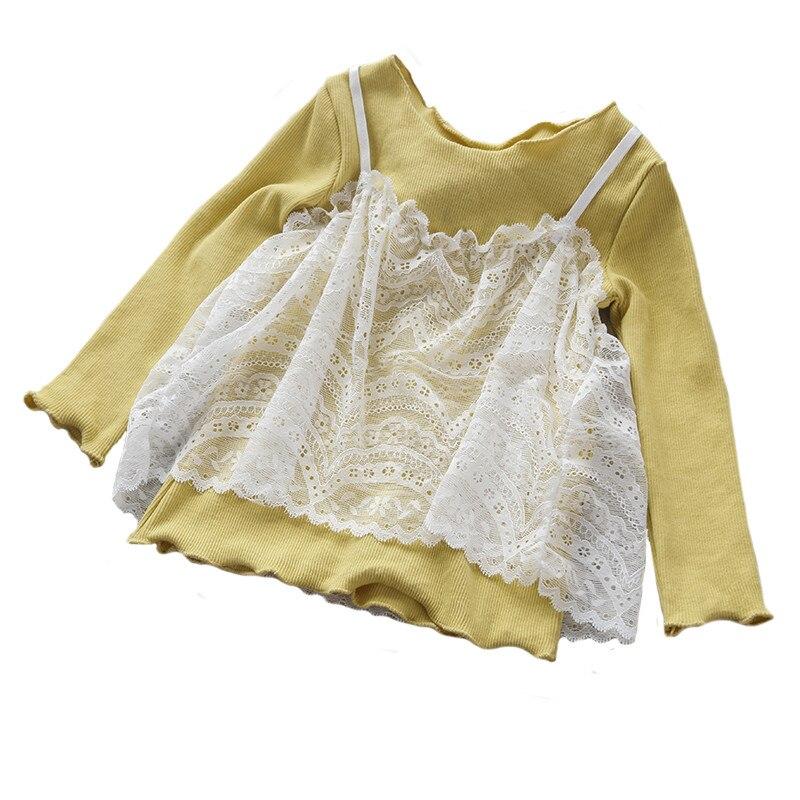 Romantisch Mädchen Spitzenhemd Kind Kleidung Herbst Frühling Langärmelige Kleine Mädchen Kinder Baumwollhemd Hochzeit Prom Shirt Kinder