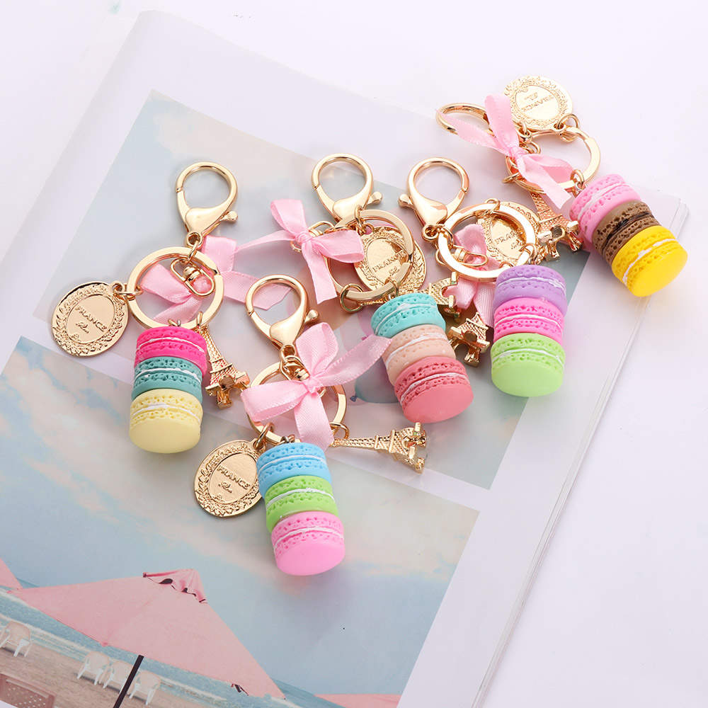 2019 Resin Macaron Keychains Key Chains Lovely Macaroon Bag Charm Keychain Chaveiro Llaveros Gold Metal Keyring Car Key Holder
