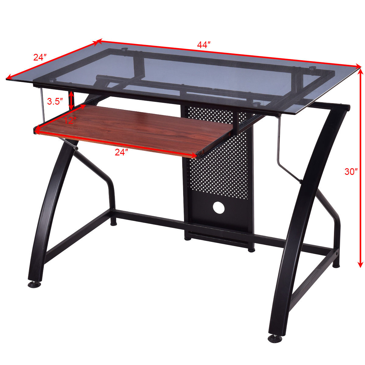 Glass Top Pc Laptop Table Computer Desk Home Office Workstation