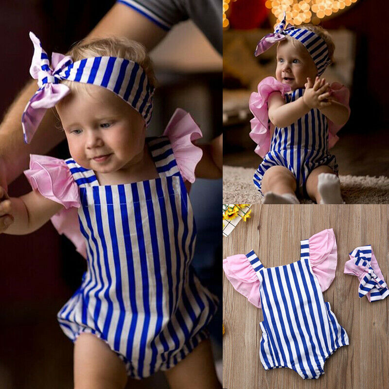 Newborn Baby Girl Clothes Cotton Striped Bodysuits Jumpsuit Headband 2pcs Outfits Summer Set