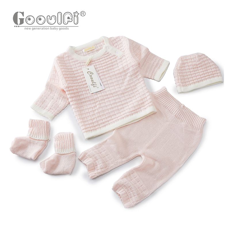 Gooulfi-Gooulfi-Baby-Girl-Boy-Set-Clothing-Sweater-4pcs-Pullover-Top-Pant-Cap-Booties-Knit-Newborn-With-Sock-Infant-Baby-Girls-5