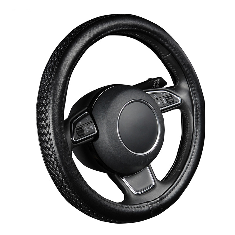AUTOYOUTH Franchised Store Luxury PU Leather Steering Wheel Cover Black Lychee Pattern with Anti-slip Braiding Style M Size fits 38cm/15\