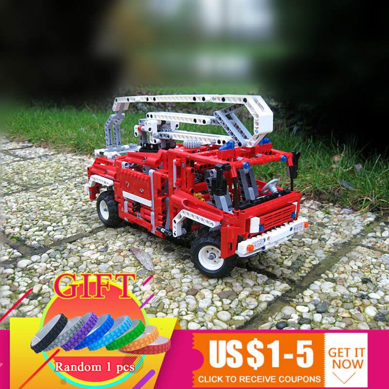 LEPIN 3323 1036pcs Technical Fire Truck Lorry set Compatible with 8289 Car Model Building Block Toys for children Gift jie star fire ladder truck 3 kinds deformations city fire series building block toys for children diy assembled block toy 22024