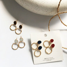 Simple design simple earrings round enamel golden circle drop earrings fashion jewerly for women gift