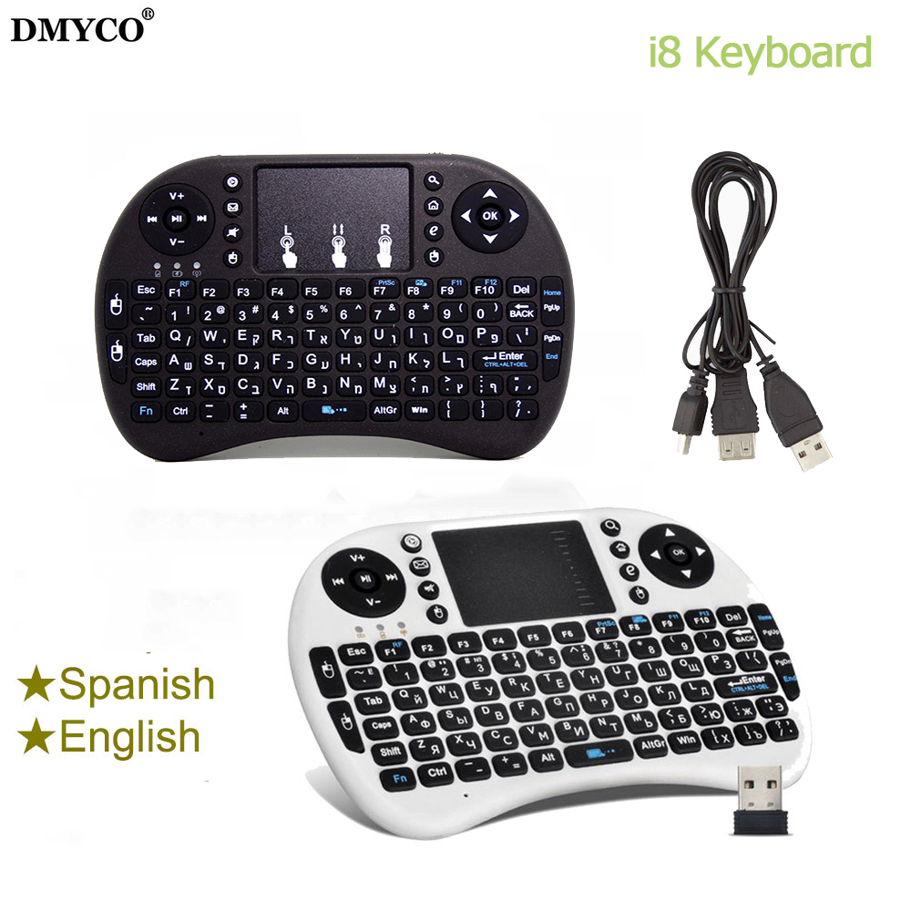 2.4GHz i8 Wireless Mini gaming keyboard English/Spanish keyboard i8 Rii Handheld For And ...