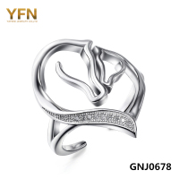 100 Real Pure 925 Sterling Silver Two Horse Heart Ring Women Jewelry Cubic Zirconia Opening Ring