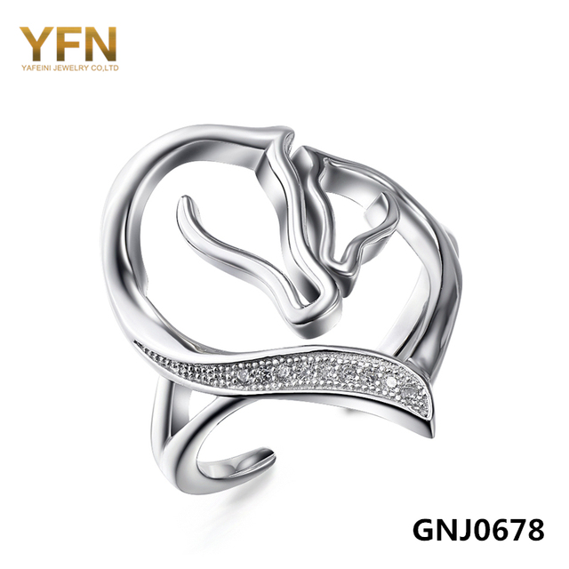 100% Real Pure 925 Sterling Silver Two Horse Heart Ring Women Jewelry Cubic Zirconia Opening Ring Adjustable Size GNJ0678