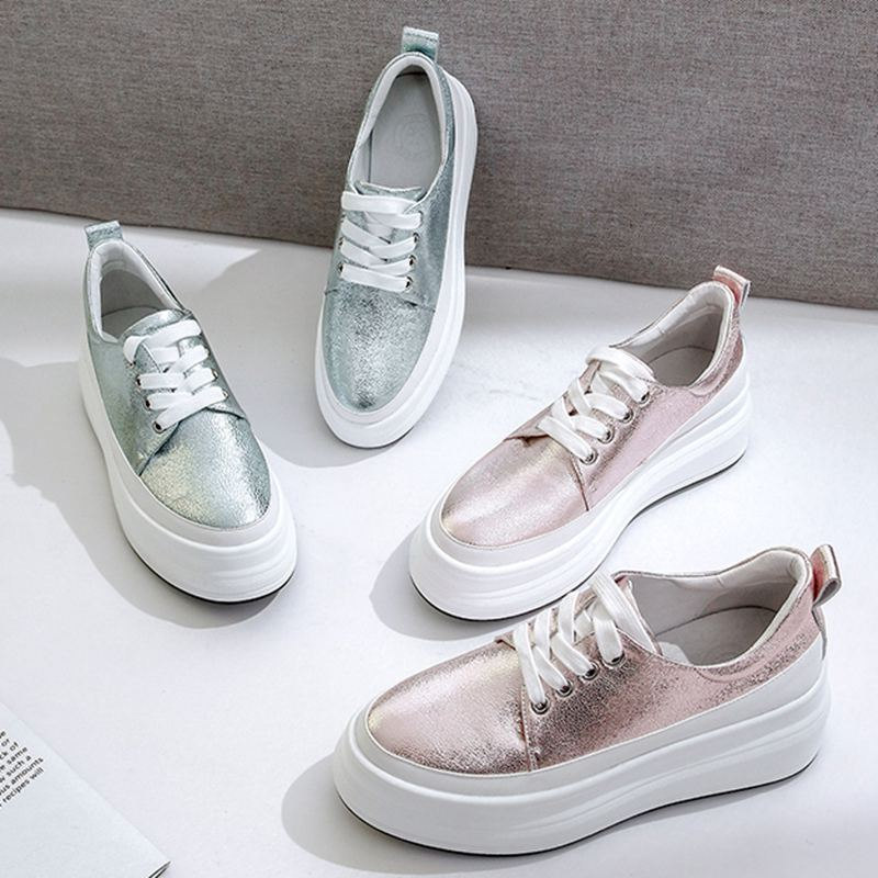2019 large size genuine leather round toe lace up solid sneaker med heel platform preppy style casual women vulcanized shoes L15