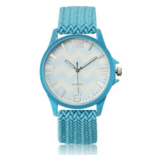 2016 New Sea Wave Design Fashion Watch Fabric Strap Wristwatch Women Watches Quartz Clock Lady Hour relogio feminino reloj mujer