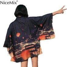 NiceMix 2019 New Summer Harajuku Blouse Women Kimono Cardigan Japanese Style Ukiyo-e Printed Loose Tops Streetwear Blusas Mujer