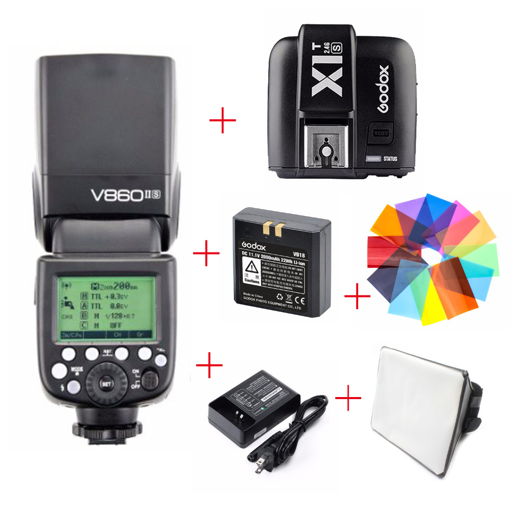 Godox Ving V860II V860II S TTL HSS Speedlite Flash For Sony A7 A7S A7R softbox Color