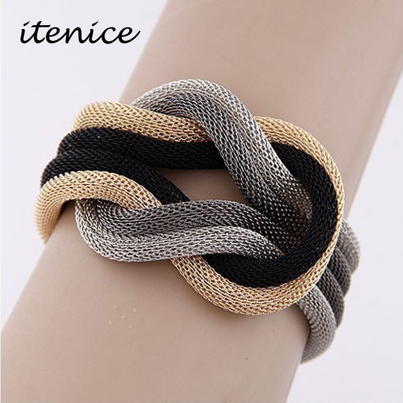 New Fashion Europe Metal Alloy Concise Compilation Statement Bracelet Snake Chain Charm Ch