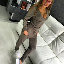 RUGOD Women Tracksuit 2 two Pieces Set Knitted Pullover Sweaters Tops Deep V-neck Long Sleeve Sweatshirt + Pants Women's Sets