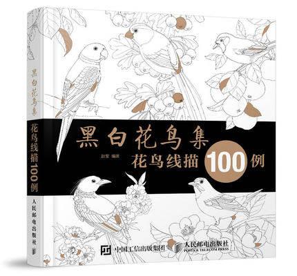 Chinois Figure Ligne Dessin Livre Sur Noir Et Blanc Fleur Et Oiseaux