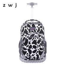18 inch fashion kids School backpack On wheels luggage bags